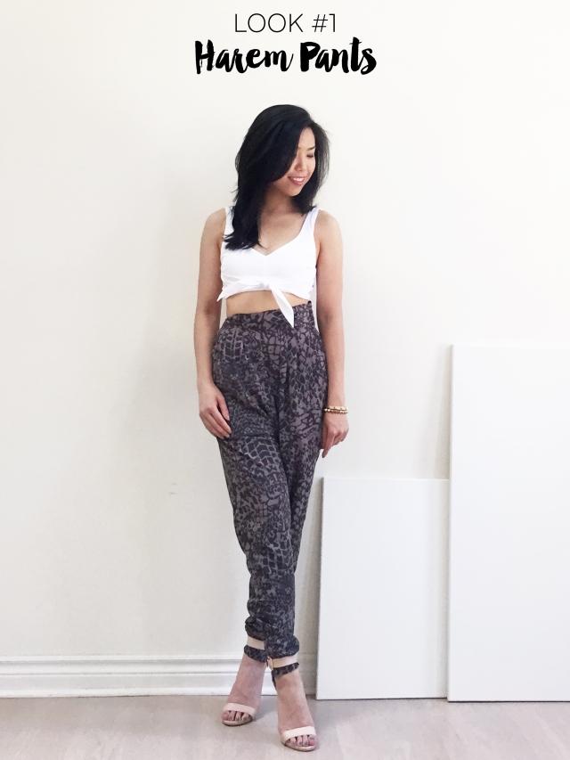 3 Ways to Style - Zara Crop Top - Look1 - Harem Pants