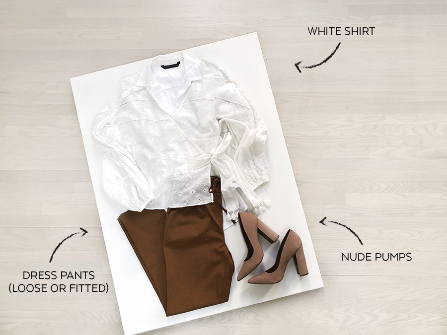 Zara White Embroidered Shirt - Look1 - Office
